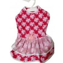 Vestido rosa com babado branco